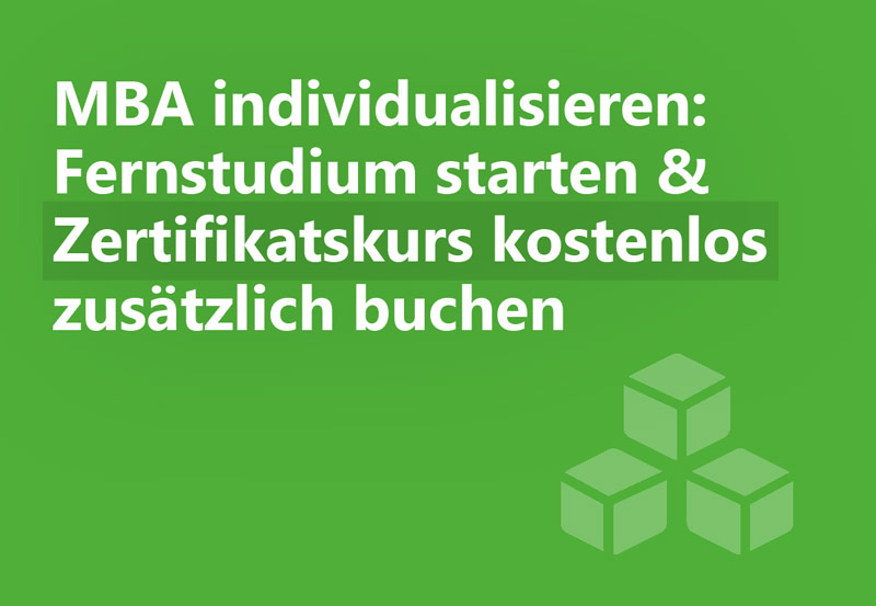 Individuelles MBA Master Fernstudium mit Online Zertifikat