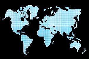 Icon Weltkarte blaue Punkte Netzwerk