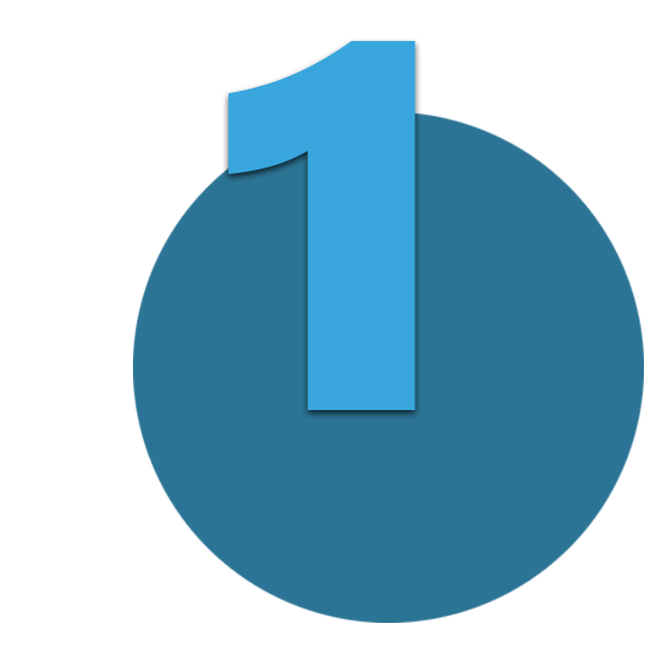 Zahl 1 blau