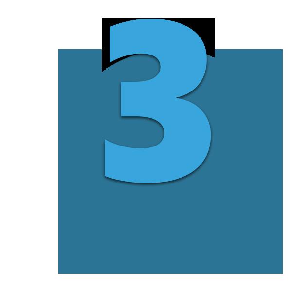 Zahl 3 blau