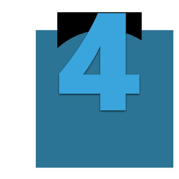 Zahl 4 blau