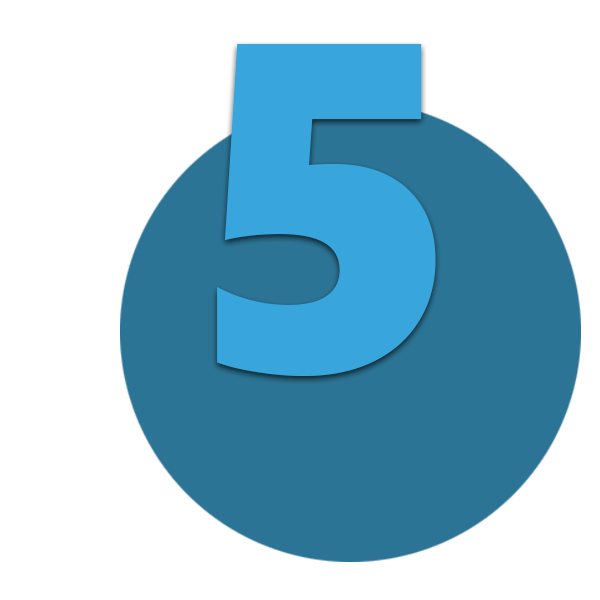 Zahl 5 blau