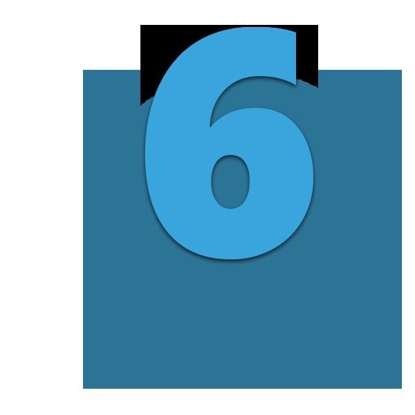 Zahl 6 blau