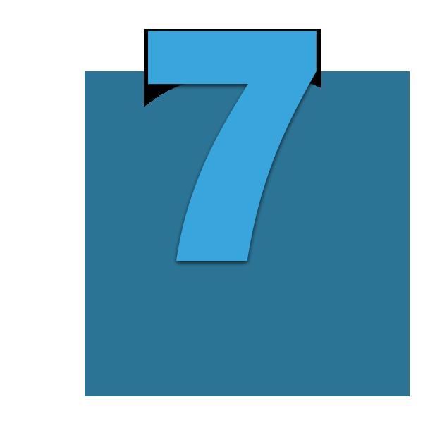 Zahl 7 blau